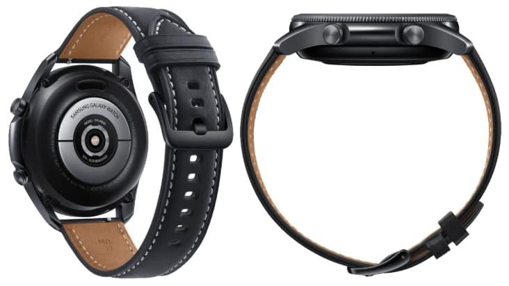 Вид с обратной стороны и с боку на Samsung Galaxy Watch 3